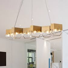 luxury titanium led chandelier in gold finish 6 light linear hanging light with clear glass shade