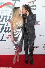 swalk this way steve tyler shared a kiss with friend aimee preston at his