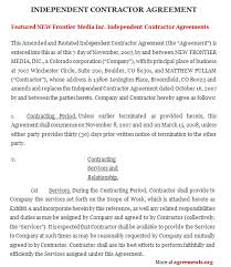independent contract template independent contractor agreement sample independent contractor
