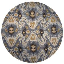 rizzy home volare grey ikat hand tufted wool 8 ft x 8 ft round