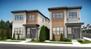 featured plan narrow lot contemporary duplex house plan