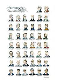 Us Presidents Chart The Presidents Chart Watercolor Illustration Usa Patriotic