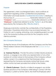 Nda Non Compete Template Free Employee Non Compete Agreement Templates Word Pdf