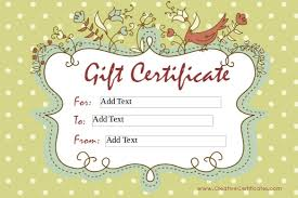 homemade gift certificate word template free