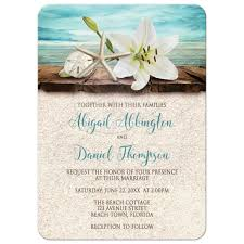 Beach Invitation Wedding Invitations Beach Lily Seashells And Sand