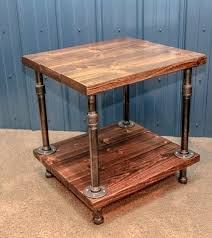 industrial side table diy industrial wood and pipe end table rustic end table industrial side table