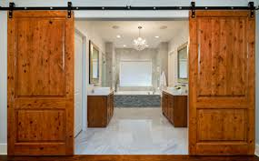 bathroom barn door view in gallery