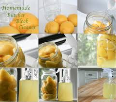 Homemade Butcher Block Cleaner- soak lemon peels in white vinegar for 10  days, scrub block with warm water and soap and spray with lemon/vinegar  mixture ...