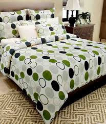 home candy white green geometrical cotton double bed sheet 2 pillow covers home candy white green geometrical cotton double bed sheet 2 pillow