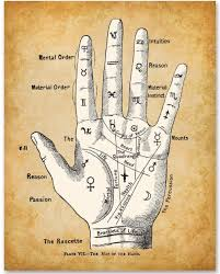 Palm Reading Divination Chart 11x14 Unframed Art Print Makes A Great Gift Under 15 For Fans Of The Occult Supernatural And Astrology