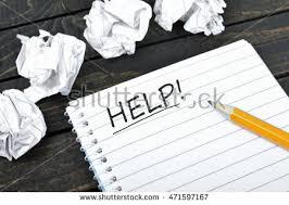 writers block help writing paper lump stock photo  help text on notepad and crippled paper