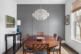 Wallpaper accent wall dining room dining room transitional with painted  wood panelling painted wood panelling gray