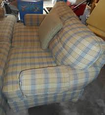 item 9 clayton marcus two pc sofa set incl full sized sofa and loveseat w three sq throw pillows light blue and beige plaid two cushion large and
