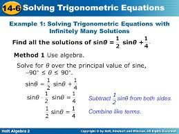 example 1 solving trigonometric equations with infinitely many solutions
