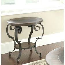 silver mulberry round end table in weathered brown tablecloth overlay