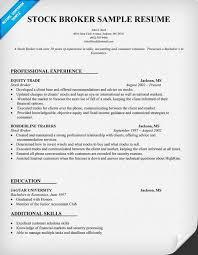 Stock Broker Resume Sample Job Resume Samples Good Resume