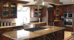 traditional kitchen with dark cherry glasses cabinet door stainless steel stove hood ceiling appliance
