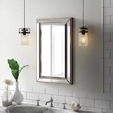 Bathroom mirror cabinets with lights Battery Operated Weslaco Beaded 16 Fab Glass And Mirror Medicine Cabinets Youll Love