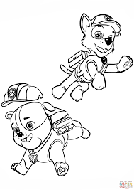 Paw Patrol Rubble And Rocky Coloring Page Free Printable Coloring