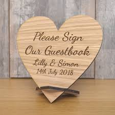 Wedding Guest Book Wooden Please Sign Our Guestbook Plaque Personalised Wedding Heart Table Sign