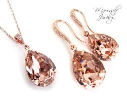 rose gold bridal earrings necklace set swarovski crystal vintage rose teardrop jewelry set hypoallergenic soft pink blush wedding bridesmaid