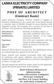 architect office names. Architect (Contract Basis) - Lanka Electricity Company (Private) Limited 2017 Applications.lk Office Names
