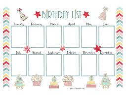 Birthday List Template Free Free Birthday Calendar 1