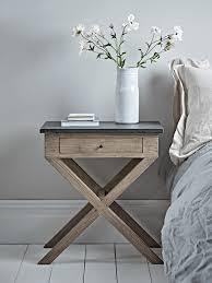 distressed cross leg bedside table