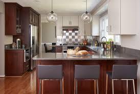 Kitchen Globe Lights Modern Kitchen With Dark Wood And Grey Cabinetry With Sleek