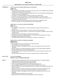 Manufacturing Engineer Resume Examples Mechanical Manufacturing Engineer Resume Samples Velvet Jobs