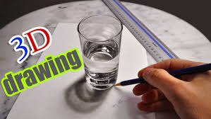 3d drawing a realistic glass of water amazing illusion anamorphic you