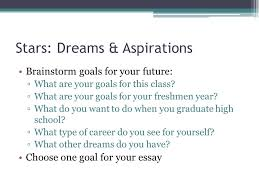 stars dreams aspirations ppt  2 stars dreams aspirations brainstorm goals for your future what are your goals for this class what are your goals for your freshmen year