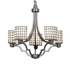 wire glass argyle 5 light chandelier finish polished chrome shade pattern swirl with