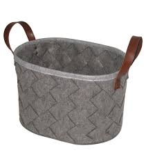 simply autumn felt basket with leather handles gray