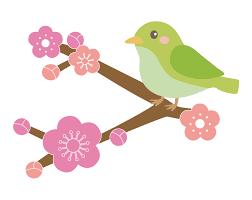 梅の花とかわいい鶯(うぐいす)のイラスト | 無料のフリー素材 イラストエイト