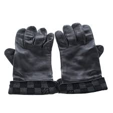 louis vuitton black leather damier graphite print gloves l nextprev prevnext