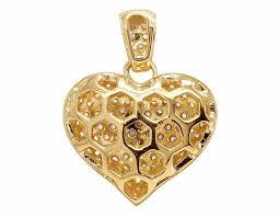 14k yellow gold real diamond puff heart pendant charm 1 5ct 0 7 pnd 30633