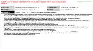 Chief Engineer Broadcasting Operations Resume Sample