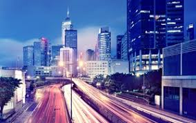 preview wallpaper hong kong lights evening metropolis buildings skysers roads