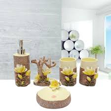 high end 3d magnolia scalpture bathroom accessories set soap holder toothbrush cup liquid soap dispenser sets craft gift gift card business model