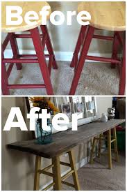 DIY Sofa Table. 2 stools painted with 2 coats of paint \u0026 a piece ...
