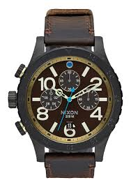 nixon 48 20 chrono leather all black brass brown men s watches at switch skateboarding