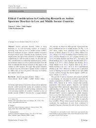 ethical considerations in conducting research on autism spectrum ethical considerations in conducting research on autism spectrum disorders in low and middle income countries pdf available