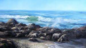 california seascape ocean wave rocks oil painting