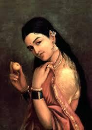 lady with lemon painting by artist raja ravi varma reion oil canvas
