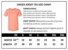 Bella T Shirt Size Chart 52 Hand Picked Unisex Size Chart For T Shirts