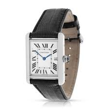 cartier watches overstock com the best prices on designer mens pre owned cartier tank louis w1540956 mens watch in 18k white gold