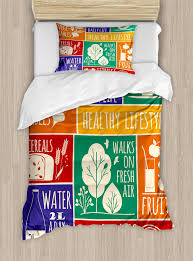 fitness duvet cover set collage of diffe colorful frames with motivational signs vegetables exercise decorative bedding set with pillow shams