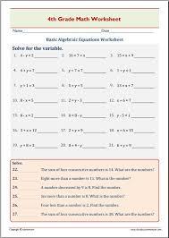Basic Algebraic Equations Worksheet – EduMonitor