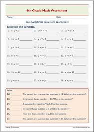 basic algebraic equations worksheet